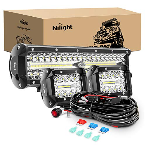 Nilight LED Light Bar Set, 12 Inch 300W Triple Row Spot Flood Combo Work Driving Lamp, 2 Pcs 4 inch 60 W Triple Row Flood Spot LED with Wiring Harness for Off road ATV Boat Lighting, 2 Year Warranty
