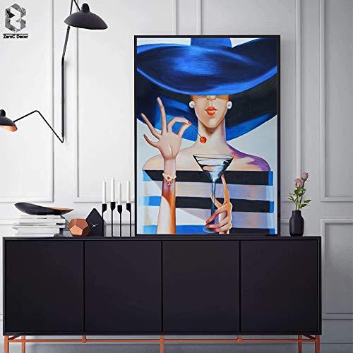 tzxdbh Moderne dame met champagne canvas kunst schilderij muurdecoratie poster en afdrukken voor woonkamer meisjes kamer mode decoratie in schilderij & kalligrafie van een Grou A4 21x30cm No frame A