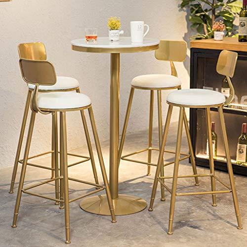 Table de pub, table de cocktail, base en métal de hauteur de barre, plateau de table rond en marbre, cadre durable, table basse d'appoint de cuisine à l'entrée du restaurant, design moderne (blanc,