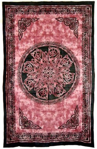 Red Celtic Knot Mandala Tapestry - 72' x 108'