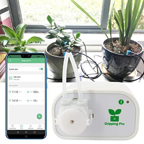 Automatisches Tropfbewässerungs-Kit, DIY-Selbstbewässerungssystem, Bluetooth-Steuerung Intelligente Wasserzeitgeberpumpe Geeignet für 8 Indoor-Topfpflanzen,EUPlug