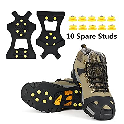 EONPOW Ice Grips, Ice & Snow Grips Cleat Over Shoe/Boot Traction Cleat Rubber Spikes Anti Slip 10 Steel Studs Crampons Slip-on Stretch Footwear (Size XL)