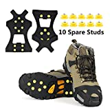 EONPOW Ice Grips, Ice & Snow Grips Cleat Over Shoe/Boot Traction Cleat Rubber Spikes Anti Slip 10 Steel Studs Crampons Slip-on Stretch Footwear (Size M)