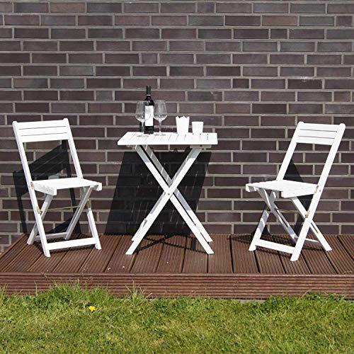Merschbrock Trade GmbH Tisch mit 2 Stühle, weiß