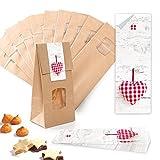 25 bolsas de regalo pequeñas marrones con ventana y base de pergamino, 10,5 x 6,5 x 29 cm + 25 pegatinas de 5 x 15 cm, diseño de corazones, color rojo y blanco a cuadros, para bodas, cumpleaños
