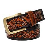 XJKLFJSIU-Belt Cinturón Tallado De Cuero Vintage/Cinturón Con Hebilla De Latón/Cinturón Unisex