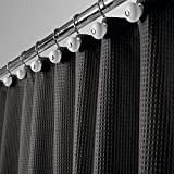 mDesign Hotel Quality Polyester/Cotton Blend Fabric Shower Curtain with Waffle Weave and Rust-Resistant Metal Grommets for Bathroom Showers and Bathtubs - 72' x 72' - Black