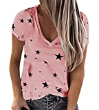 Onsoyours Mujer Moda Camiseta Manga Corta Cuello V Slim Estrellas T Shirt Color Sólido Blusa Basica Suelto Casual Deportivo Fiesta Original tee Tops A Rosa 40