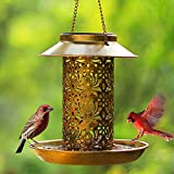 Casitas de aves salvajes solares, alimentadores de aves colgantes para las casas exteriores de aves solares con gancho como ideas de regalo para los amantes de los pájaros para el periquito canario co