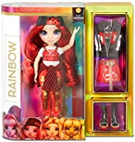 Lalka modowa Rainbow High - Ruby Anderson - Czerwona lalka z wyjatkowymi strojami, akcesoriami i stojakiem na lalke -...