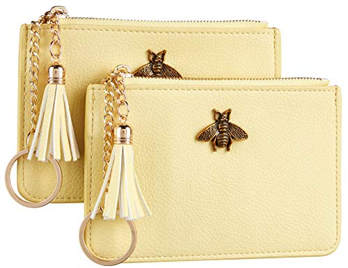 2 Pack Women Coin Purse Change Wallet Coin Pouch Card Holder Clutch with Key Chain Ring Tassel Zip by Gostwo(Pebble Yellow Light)