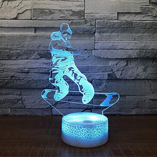 SXMXO Snowboard LED Lampe 7 Farben Ändern 3D Illusion Nachtlampe Acryl USB Schreibtisch Tischlampen Sport,7colortouch+remotecontrol