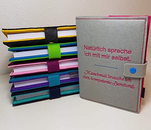 Kalenderhülle inklusive Kalender 2021 in A5 aus Filz individuell bestickt - personalisiert - Buchhülle - Notizbuch - Organizer