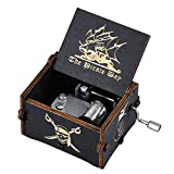 Imncya Aphei Wooden Music Boxes Theme Davy Jones Locket, Hand Crank Antique Laser Engraved Vintage Musical Classic Gifts for Home Decoration,Crafts,Toys,Gifts(Black)