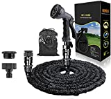 HOMOZE 50ft Expandable Garden Water Hose Pipe with 3/4', 1/2' Fittings, Anti-leakage - Flexible Expanding Hose with 8 Function Spray Nozzle (Black)