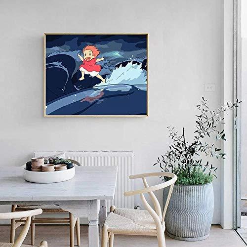 JHGJHK Película de Dibujos Animados Anime japonés Hayao Miyazaki película de Peces de Colores Manga decoración de la habitación Familiar Pintura (Imagen 4)