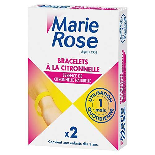 Marie Rose Bracelets à la citronnelle, essence de citronnelle naturelle - La boîte de 2 bracelets