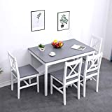 soges Conjunto de Mesa de Comedor de 5 Piezas, Mesa de Comedor de Cocina con 4 sillas para Cocina Comedor Muebles, Blanco y Gris, BSB-023