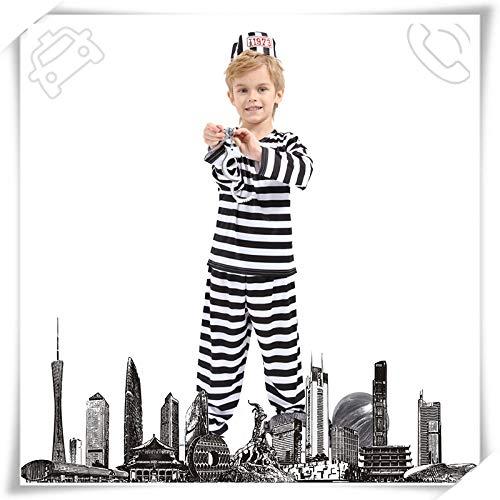 N / A Cosplay Regalo de la Novedad de Halloween Disfraz para nios Disfraz de Prisionero actuacin de Drama Navidad prisin Uniforme de prisin Disfraz Body Height:90-105cm