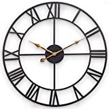 Large Wall Clock, European Industrial Decor Wall Clock with Large Roman Numerals, Indoor Silent Battery Operated Metal Clock for Home, Living Room, Kitchen and Den - 18 Inch, Classical Black