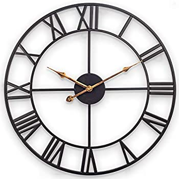 Large Wall Clock European Farmhouse Vintage Wall Clock with Roman Numerals Indoor Silent Non-Ticking Battery Operated Metal Rustic Clock for Home Bedroom Living Room Kitchen 20 Inch Black
