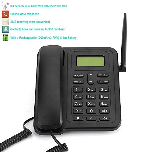 """2017 Newest 3G Desk Phone, Sourcingbay M932 Classic 2.4"""" Dual Band Fixed Wireless 3G Desktop Telephone for Business Family with Rechargeable Battery, SMS, Caller ID, Redial, Hands Free Functions"""