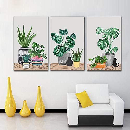 Lunderliny Canvas Printings Nordic Cute Simple Green Plant Cartoon Cactus Painting Frameless Canvas Wall Art Picture For Kids Room Decoration A