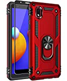 SunRemex Galaxy A01 Core (Not Fit A01 Phone Case with Tempered Glass Screen Protector. Galaxy A01 Core Case Kickstand [ Military Grade ] 15ft. Drop Tested Cover for Samsung Galaxy A01 Core (Red)