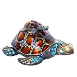 Mother and Baby Turtle Figurines Jewelry Trinket Boxes Hinged Collectible Figurines...