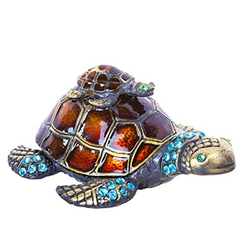 Mother and Baby Turtle Figurines Jewelry Trinket Boxes Hinged Collectible Figurines
