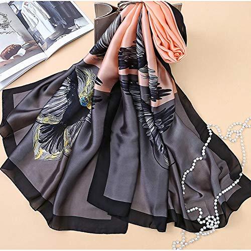 TLXOZ Mode-Design Tierfeder Flügel Adler Gedruckt Langen Seidenschal Großen Schal Damenschals Hijabs