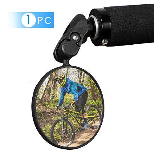 WESTLIGHT 1 STÜCKE 360° Drehspiegel Fahrradspiegel für 17.4-22mm Flacher Lenker, Rückspiegel Lenkerspiegel Konvexen Reflektor Spiegel mit Weitwinkelobjektiv für Fahrrad E Bike Mountainbikes