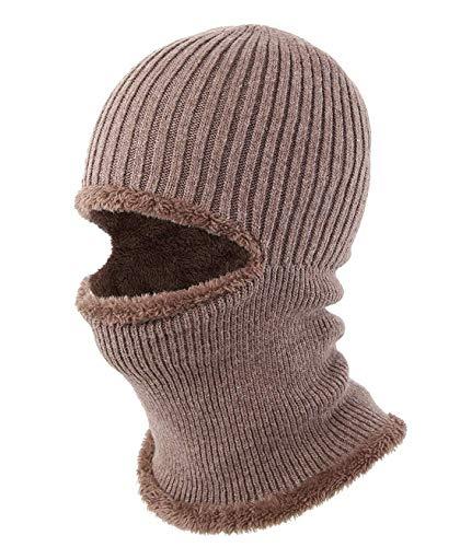 (コネクタイル)Connectyle メンズ 冬 アウトドア 厚い ネックウォーマー 帽子 バラクラバ ニット 目出し帽子 フェイス マスク 防風 防寒 スキー 帽子 コーヒー色