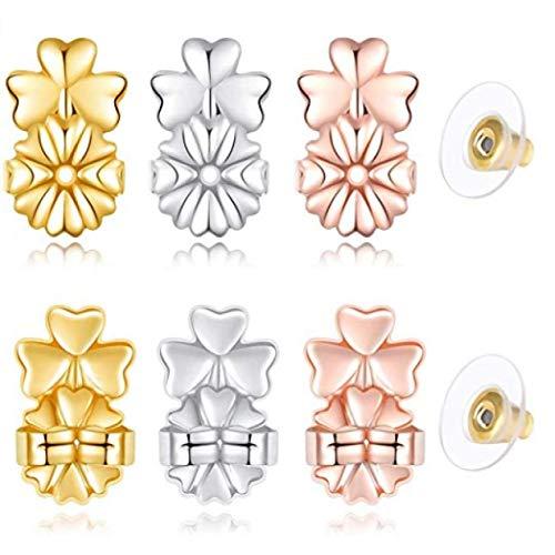 Stella Classic 9 Stks Magic Oorbel Lifters Verstelbare Oorbel Liften (1 Paar Sterling Zilver,1 Paar van 18K Goud verguld en 1 Paar Rose Gold)