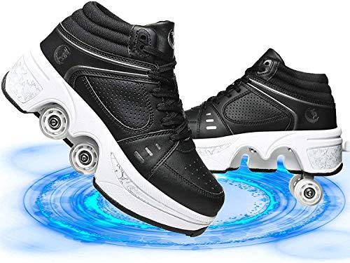 Kinder Rollschuhe Inline-Skate 2-In-1 Mehrzweck Deformations Schuhe Roller Turnschuhe Rädern Laufschuhe Sneakers Rollen Skate Shoes