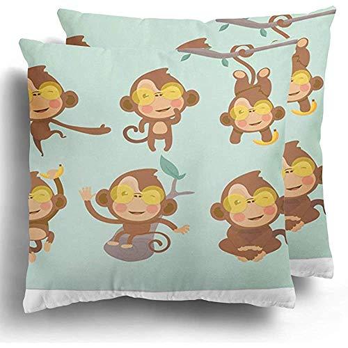 GodYo Throw Pillow Covers 1pack Brown actie van schattige grappige apen in cartoon-stijl Active Adorable Animal Ape Baby