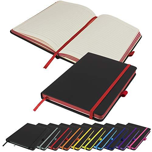 Cuaderno ejecutivo con bordes de papel en contraste, tamaño A5, con rayas, tapa dura, bloc de notas, cuaderno de notas (rojo)