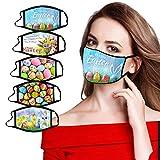 T- 5 Stücke Herren Damen Mundmasken Masken mit Easter Ostern Drucken Face Shield,Wiederverwendbar Nasenschutz Masken Gesichtschutz Mundschutz Gesichtsmasken Halstuch Schlauchtuch (D)