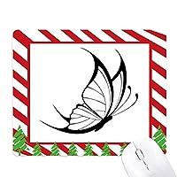 シンプルな黒蝶の飛翔 ゴムクリスマスキャンディマウスパッド