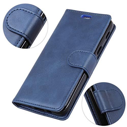 LingDan Schutzhülle für Razer Phone 2 (5,7 Zoll) PU Lederhülle Flip Cover Ledertasche Retro Rindleder Muster mit Ständer Magnetverschluss Kartensteckplatz Brieftasche Hülle, Blau