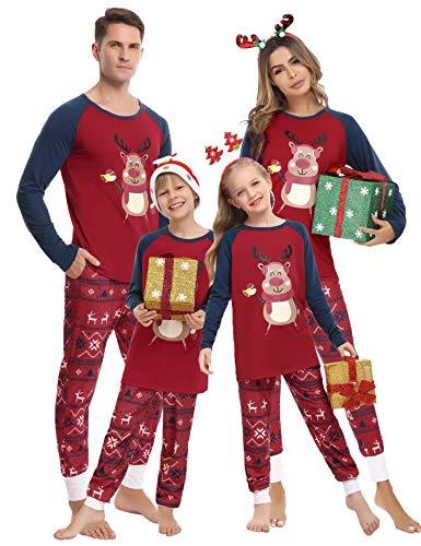 Hawiton Pijamas de Navidad Familia Conjunto de Pijamas de Hombre Mujer Niño Niña Invierno Manga Larga Algodón Ropa de Dormir Larga de Navidad Pantalones y Camiseta Larga 2 Piezas
