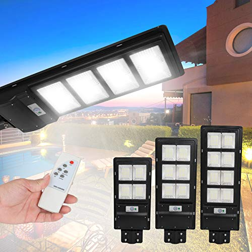 MUCH 120W 280 LED Solar Street Path Light IP65 Waterproof Ultra-Bright Sensor Remote Control Outdoor Wall Road Lamp with 3 Adjustable Mode Support Motion Sensor Wireless Dusk to Dawn