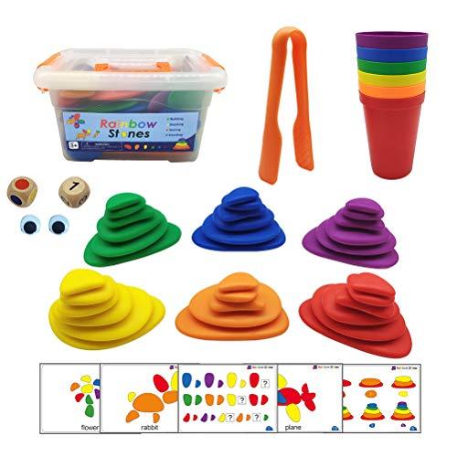 94pcs / set Rainbow Pebbles Juguetes de aprendizaje de matemáticas tempranas Clasificar y apilar Piedras Juego de actividades para niños Juguete sensorial Juguete de construcción y primer conteo