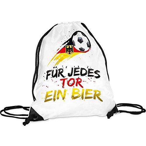 Tassendruck WM-Turnbeutel mit Spruch für jedes Tor Ein Bier/Rucksack/Hipster/Gym-Bag/Sport-Beutel/Fussball/National-Manschaft/Deutschland/Beste Qualität - 25 Jahre Erfahrung