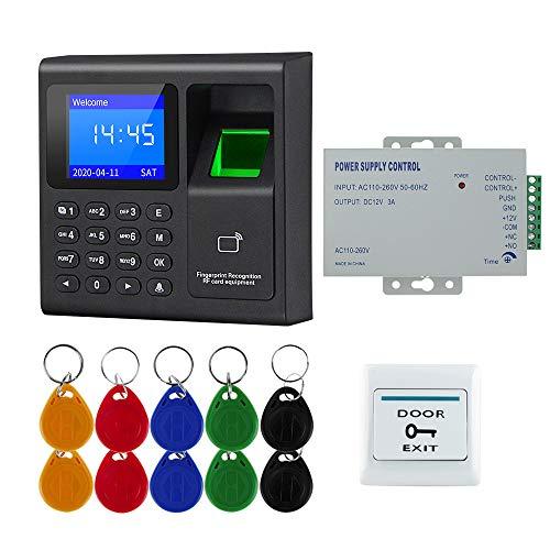 FTSTech Kit Sistema di Controllo Accessi porta RFID per Impronte digitali con Password della Carta,Tastiera di Accesso alla Sicurezza Domestica, Pulsante di Uscita, 10 Portachiavi, (without Lock)