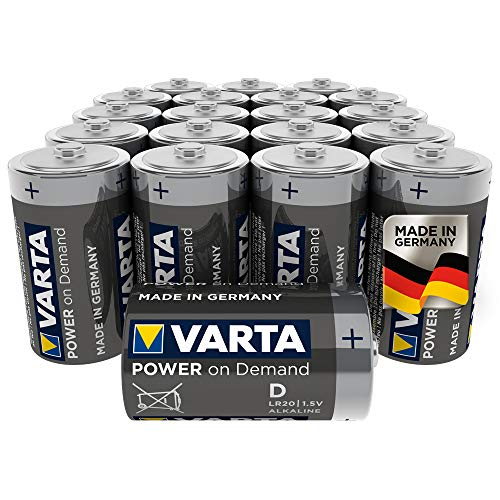 VARTA Power on Demand D Mono Batterien - 20er Pack Vorratspack - für den mobilen Endkonsumenten - für Computerzubehör, Smart Home Geräten oder Taschenlampen – MADE IN GERMANY