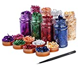 Gold Foil Flakes for Resin 8 Bottles Gilding Flakes Metal Gold Leaf Flakes for Nails,Crafts,Painting Art,Slime (Gold,Silver,Copper,Red,Blue,Purple,Green,Peach Color)