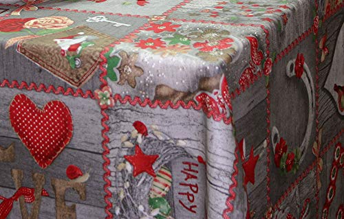 Montse Interiors, S.L. Mantel Antimanchas Navidad (Happy, 140 Redonda)