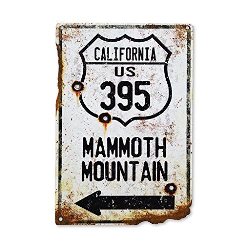 Surf To Summit Handcrafted Vintage HWY 395 Mammoth Mountain Steel Sign Snow Skiing Sign Snowboard Rustic Metal Sign Bullet Holes Rusted
