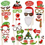 Sugoiti Christmas Photo Booth Props 32 Pieces DIY Kits Dress-up Decoration for 2020 New Years Party Eve Decorations with Glasses Moustache Red Lips Deer Horn Santa Hat